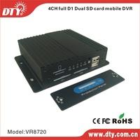 DTY VR8720 4ch dual sd card d1 mini car dvr support ccd/cmos camera