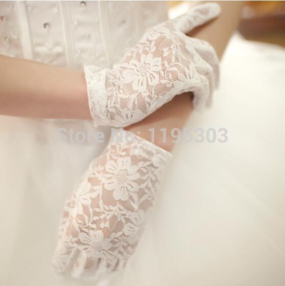 Свадебные перчатки белый