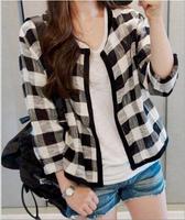 Top Sale Cotton Blend Fashion Autumn Women Coat Basic Jacket European Casual Coats Grid Outerwear Short Blazer Loose Clothes New