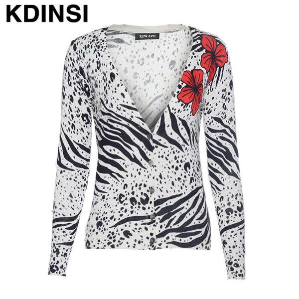 2014 women's fashion female models printed flower pattern V-neck long-sleeved cardigan sweater women's cotton sweater jacket(China (Mainland))