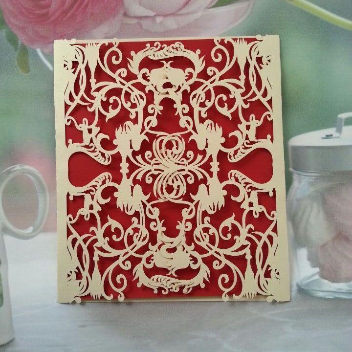 Romantic Ivory Wedding Invitations Kits Cards+ Envelopes(China (Mainland))