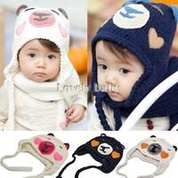 1pcs! Hot Sale,Retain Ear Protector Cap Cartoon Bear Baby Hat Winter Beanie Children hats Cute Kids Wool Caps White b9 SV009797
