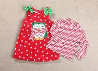 5set/lot wholesale gril's clothes fleece sleeveless dress long sleeve t-shirt baby clothes christmas cartoon kids clothes