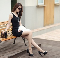 Free Shipping Novelty Ladies Fashion Casual Dress Cultivate One's Morality Pure Color O-neck Tank Dress SRX19