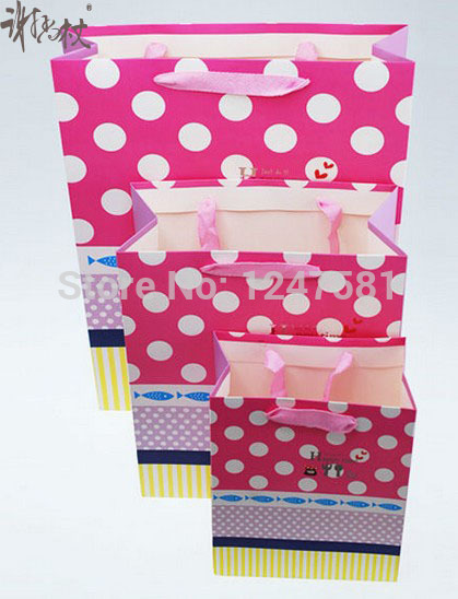 2014 hot new design pink cheap gift paper bag at happy time LINGSHANG high quality(China (Mainland))