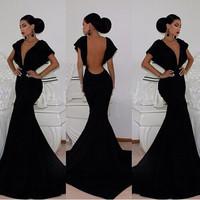 Free Shipping 2014 Vestidos De Fiesta Sheath V Neck Backless Short Sleeve Evening Dresses Women Dresses Party Dress MDf0023
