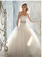 hot sale elsa dress vestidos de noiva lace dress zipper button back bow belt with beads sexy bridal gown wedding dresses