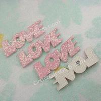 100 Glitter Pink Love Letter Applique Scrapbooking Craft Favor 25mm x 8mm  Free Ship