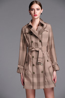Fashion 2014 New British Middle- long Double Breasted Trench Coat Spring / designer Genuine Leather Belt Outerwear Elegant