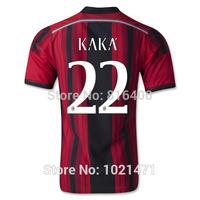 Free Shipping 14 15 AC Milan Jersey Top A+++ Thai Quality 2015 Milan Home red Soccer Jerseys BALOTELLI KAKA HONDA football shirt