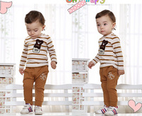 2014 Children clothing sets baby boys clothing suits boy's cute Children cartoon bear long sleeves shirt+pant BDT-411