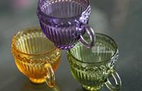 Zakka European retro glass coffee mugs embossed Shuwen transparent glass mug cup tea cup free shipping