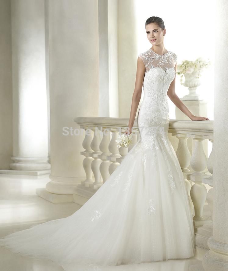 See Through Turtleneck Bridal Gown Sheer Lace Wedding Dresses Cap Sleeve Trumpet Organza Vestido
