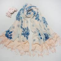 The new imitation cashmere double stitching chiffon blue snowflake printed scarf wholesale