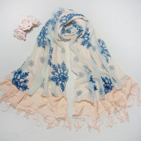 The new imitation cashmere double stitching chiffon blue snowflake printed scarf wholesale