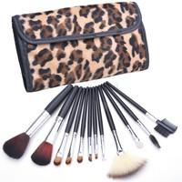 2014 Professional Makeup kits 12 PCs Brush Cosmetic Facial Make Up Set tools With Leopard Bag makeup brush tools SV22