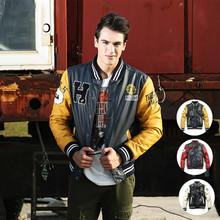 American mens fleece jackets outdoors sport jackets autumn winter PU leather clothing hip hop baseball varsity jacket leather(China (Mainland))