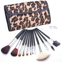 12pcs Professional Cosmetic Makeup Brushes Set Leopard Bag Kit Pincel Maquiagem Make Up pincel maquillaje Maquillage SV22