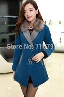 Fashion 2014 Winter Coat Woemn Female Warm Woollen Long Sleeve Overcoat  Simple Solid Wool Coat