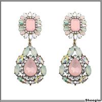 Fashion Brand Statement earrings jewelry Big Rhinestone Crystal Long drop earrings women Shourouk Luxury jewelry