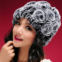 New Real knitted REX rabbit fur hat thick wool lining Beanie women hat winter caps fur flower headgear fur skullies hats