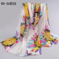 New velvet chiffon silk sunflower print scarf