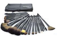 A Set 24Pcs Black Professional Synthetic Hair Makeup Brush Set Kit Makeup Brushes tools Brand Make Up Brush Set Case With PU Bag