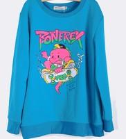 bigbang cartoon r skateboard printing loose sleeve cashmere sweater couple hoodies