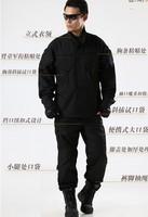 Black camouflage combat uniforms suits training uniform camouflage military uniform pants and jacket S-XXL
