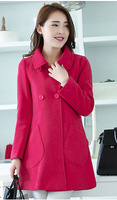 Autumn winter new large size women loose woollen overcoat woolen coat thickening of self-cultivation