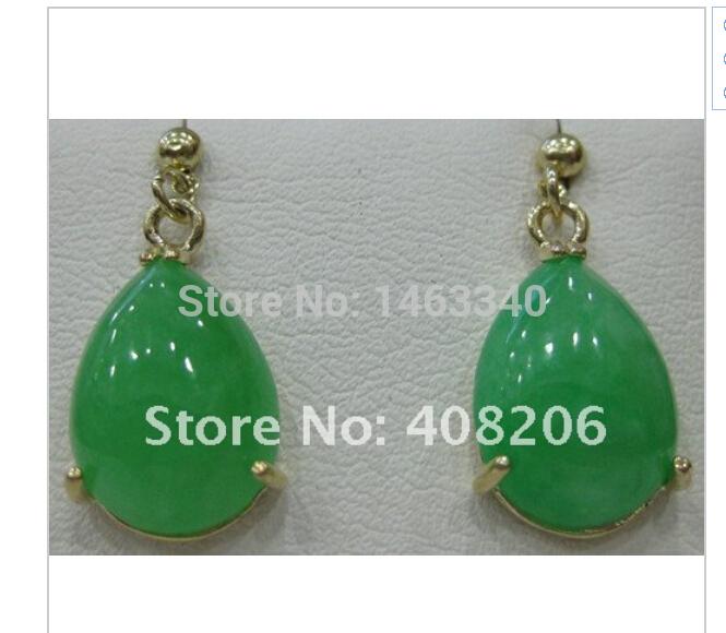 Beautiful mosaic droplets green jade earrings . Free Shipping(China (Mainland))