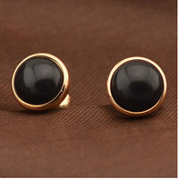 Gurantee 100% 316L Titanium Steel 0.8cm wide black agate stud korean accessories for woman statement earrings brand ER323