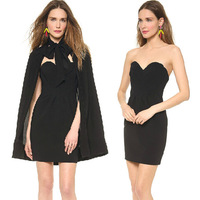 Vintage Sexy Women Black Bow Off Shoulder Strapless Heart Gathered Ruched Evening Dress Club Party Dresses Tying Cape 2pc