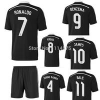 High quality kits 14 15 Real Madrid soccer jerseys+shorts KROOS RONALDO BALE JAMES 3rd away football shirt black uniforms set