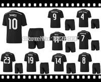 Real Madrid 3D away black soccer kits Best quality jersey+shorts uniform 2014-15 CHICHARITO JAMES KROOS Ronaldo,Bale,Isco,Ramos
