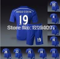 Hazard diego costa torres oscar fabregas drogba Schurrle terry willian 2014-15 club home blue jersey+shorts soccer kits uniform