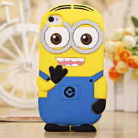 100pcs Soft Silicone Despicable Me 3D Cartoon Yellow Minion ME2 Cute Gel Rubber case For iphone 6 Air 6g 4.7'' cases cover