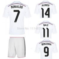 High quality kits 2014 15 FC Real Madrid Soccer Jersey+short RONALDO BALE home Football Shirts white soccer uniforms set+logos