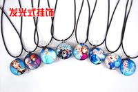 New Wholesale 2015 Chrismas Sell Hot Sale Elsa & Anna Frozen Flash Necklace Ribbon Chain Charms Necklace Pendents-20pcs