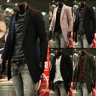 Free Shipping 2014 Autumn Winter Woolen Korean Style Slim Fit Men Coat Jacket Peacoat Men's Pea Coat Sweaters A104(China (Mainland))