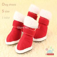 Christmas celebration Required  turned red velvet wear-resistant non-slip bottom dog shoes pet dog for Christmas cotton s