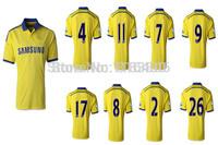 Thai quality Chelse soccer jersey 2014-15.Chelse away yellow soccer jersey custom FABREGAS,HAZARD,OSCAR.WILLIAN,David Luiz,ETO'O
