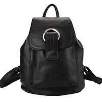 Free Shipping men women genuine leather travel backpack school student casual buckle bucket bag new preppy style shoulder bags