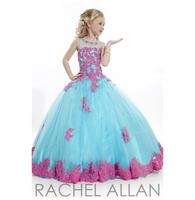 2014 Little Girl's Pageant Dresses Blue Grew Neck Tulle Beaded Crystal Top Princess Flower Girl Dresses Custom Made