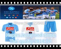 Naples home away blue white soccer jersey.soccer shorts 2014-15.Thai quality free custom MAGGIO,HAMSIK,HIGUAIN,CALLEJON