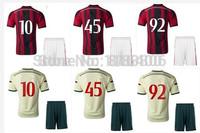 Best quality AC milan soccer kits 2014-15.AC milan home and away soccer uniform.custom HONDA.MONTOLIVO,BALOTELLI,EL SHAARAWY