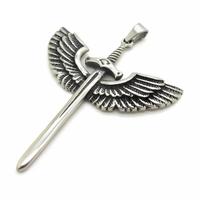 Angel Wings Pendant,  New Hot Fashion Stainless Steel Silver Vintage Sword Cross Men Pendant Jewelry Gift