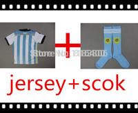Argentina home youth kids child boys soccer kits World Cup 2014 Messi,Kun Aguero,Lavezzi,Higuain,Di maria uniform size 16-28