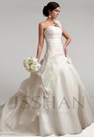 2015 One Shoulder Flowers Ruching Floral Design Elegant Gorgeous Luxury Unique Long Bridal Wedding Gown Bridal Dresses