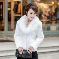 2014 Winter warm Women's Faux Fur Outerwear Coat Medium-long Coats White and Black choice 5Size S-XXL Overcoat